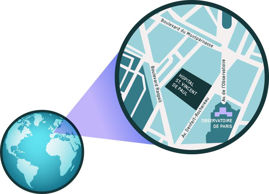 Blick auf die Erde mit Zoom auf den Stadtplan von Paris