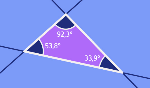Plane with triangle whose angles add up to 180 degrees