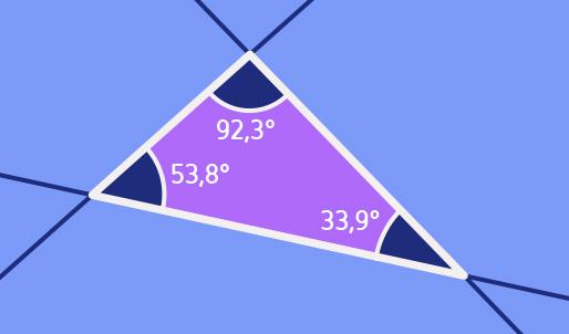 Dreieck in einer Ebene; die Winkel sind jeweils angegeben und ihre Summe betraegt 180 Grad.