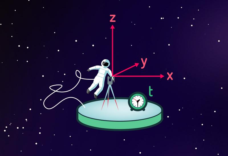 Beobachter auf Raumstation, der Raum und Zeit vermisst