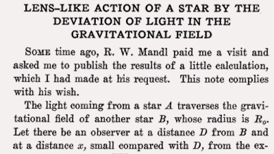 First lines of Einstein's publication in Science 84 (1936)