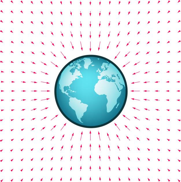 Gravitationsfeld rund um die Kugelmasse der Erde
