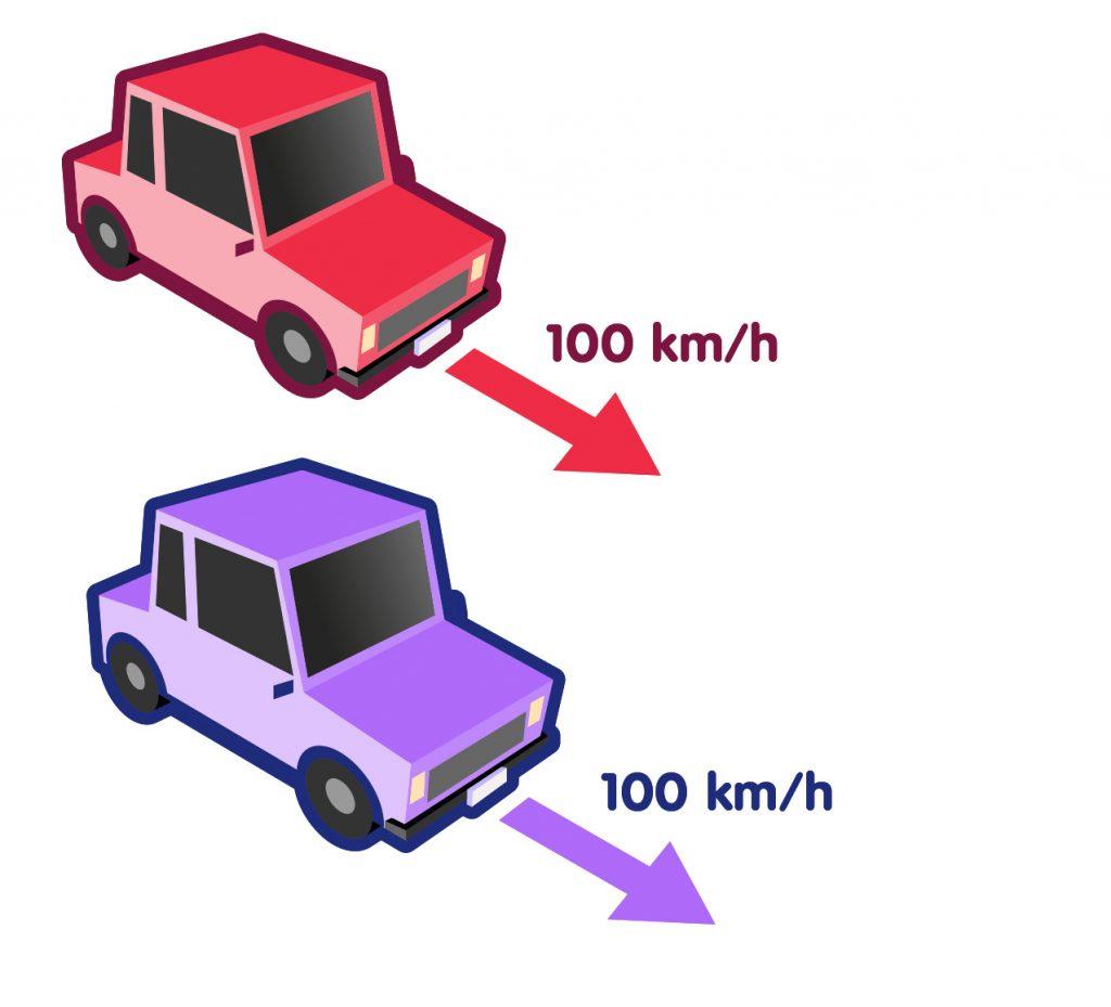 Zwei Autos mit je 100 km/h Geschwindigkeit