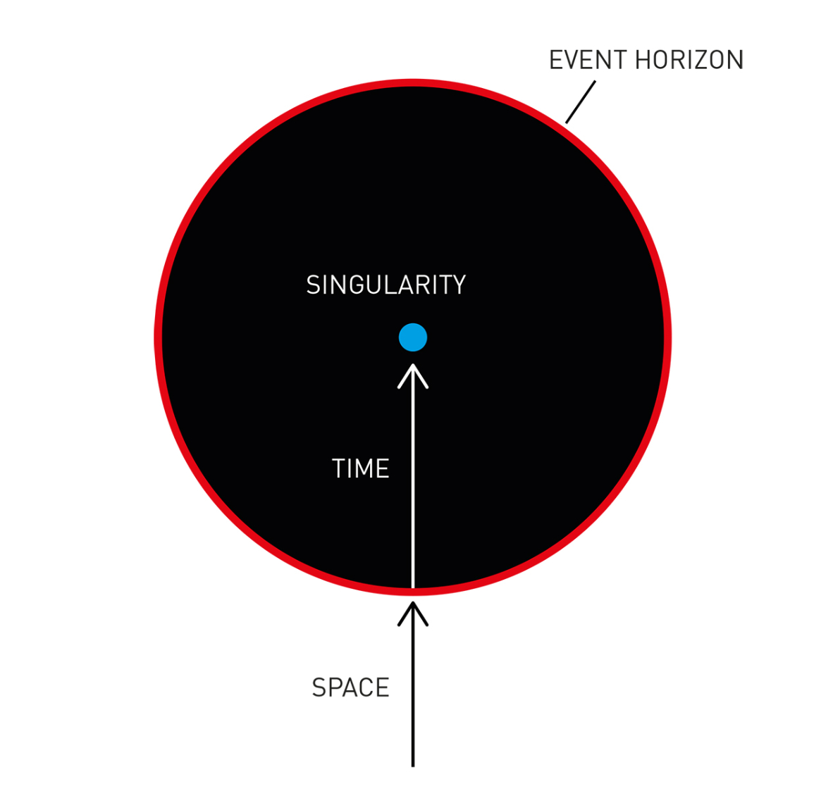 A black circle symbolizes a black hole. In the center of the black hole, a singularity is depicted as a blue disk.