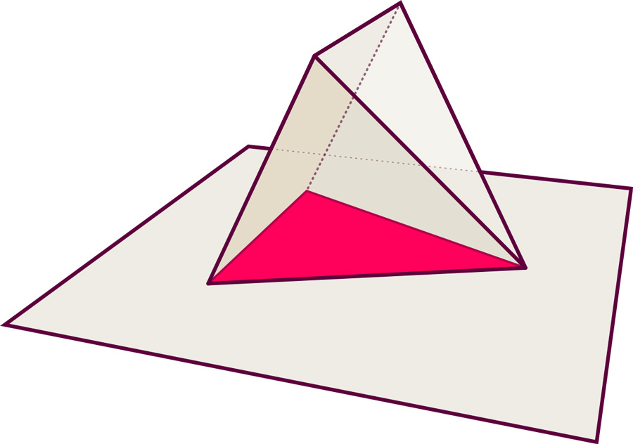 Three-dimensional pyramid and plane: triangle