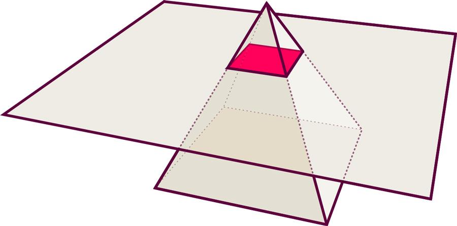 Dreidimensionale Pyramide und Ebene: Quadrat