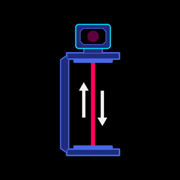 Abbildung, aus der die Länge des Lichtweges bei der ruhenden Lichtuhr zu sehen ist