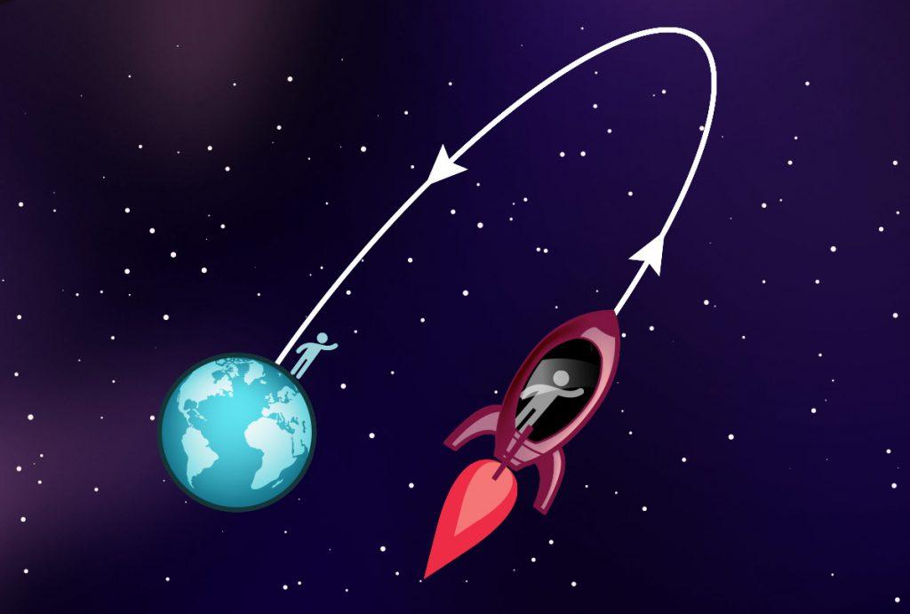 Zwillinge in Rakete und auf Erde