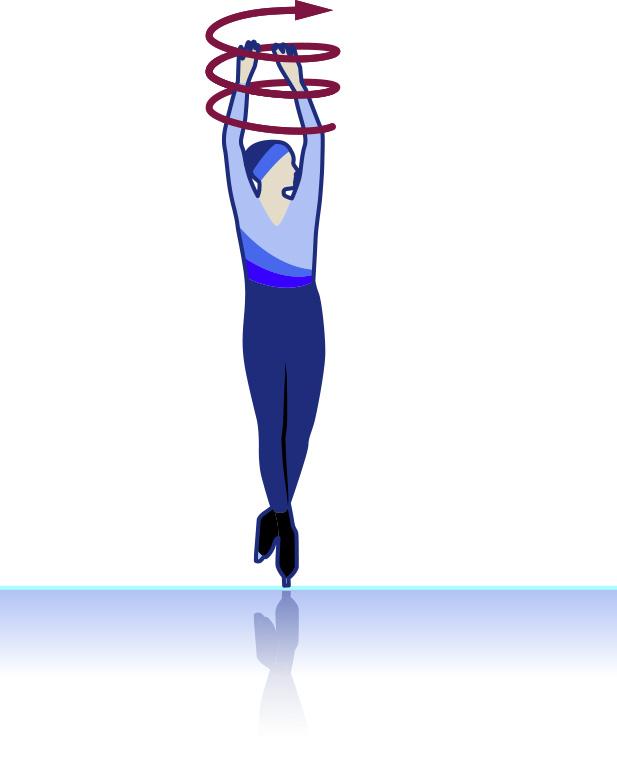 Eiskunstlaeufer mit angezogenen Armen und Beinen
