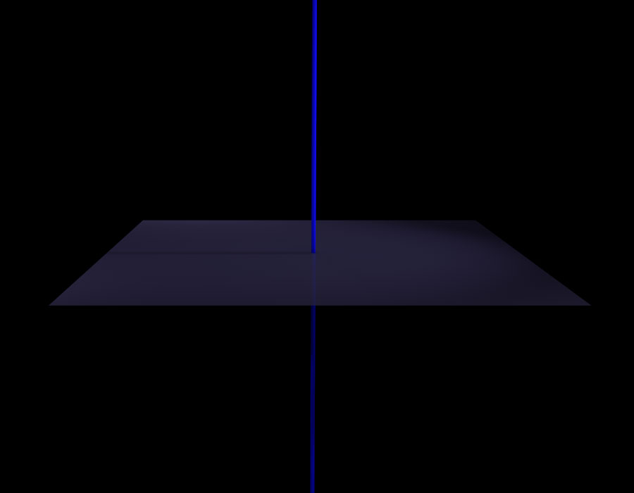 Space with vertical blue axis and a gray transparent plane orthogonal to that axis.