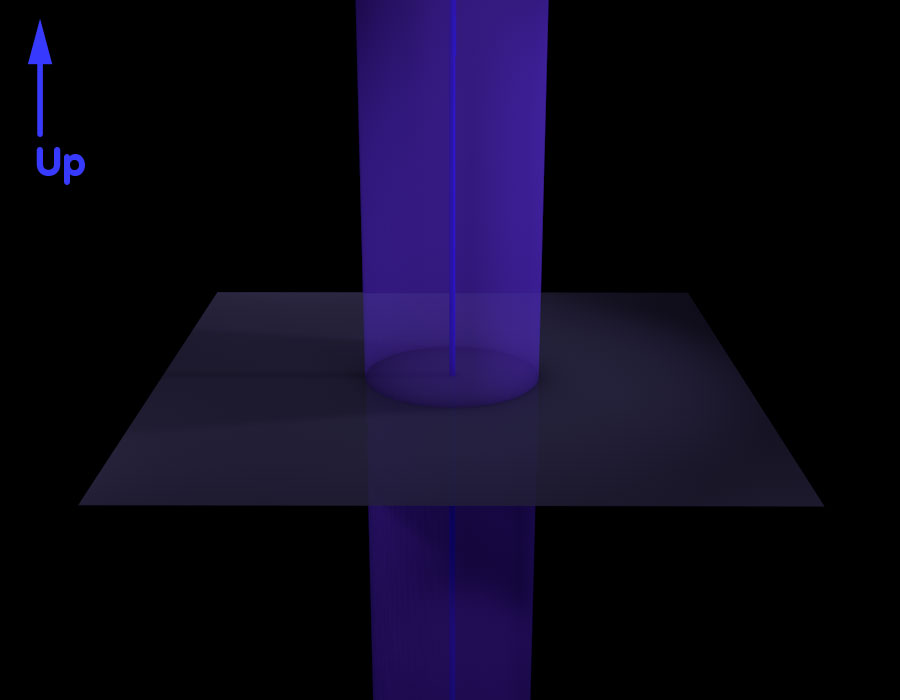 Space with a central axis that is, at the same time, the axis of a light-blueish cylindrical surface
