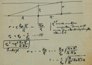 Extract from Einstein's notebook showing a rough sketch of a lens system and a few formulae
