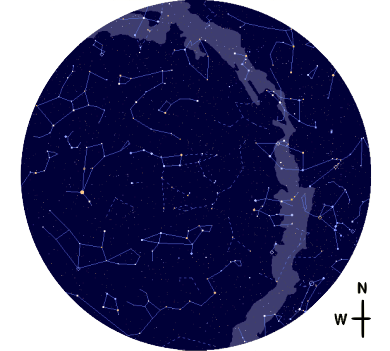 View of the (Northern) night sky: Constellations and the whitish band of the Milky Way, where there is an especially high concentration of stars