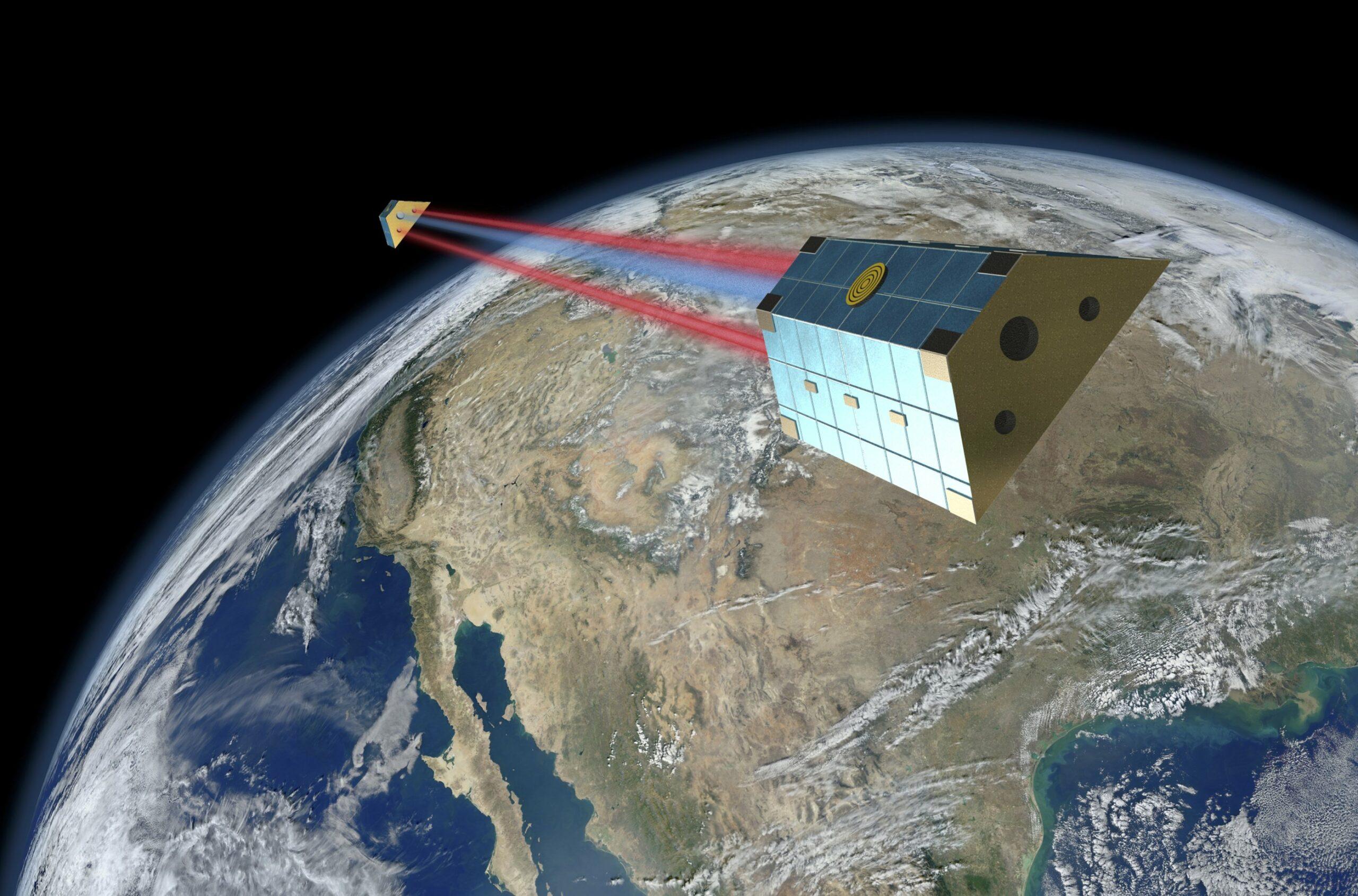 Zwei Satelliten in Abstand zueinander fliegen über der Erde