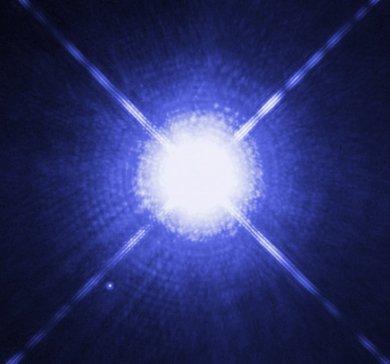 Sirius A und B, aufgenommen mit dem Weltraumteleskop Hubble